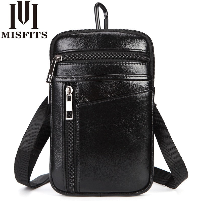 Men's Fashion Waist Packs Genuine Leather Hook Belt Buckle Shoulder Messenger Fanny Pack Small Hip Bag Man Crossbody Phone Pouch