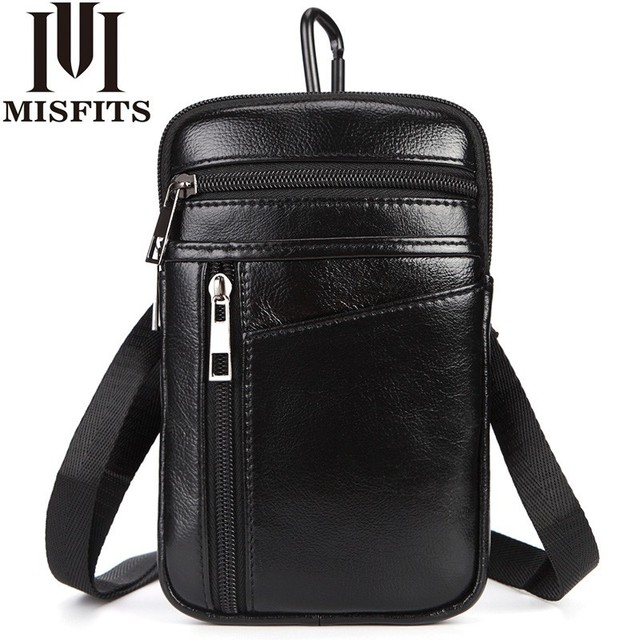 251c8781a40 US $17.4 53% OFF|Men's Fashion Waist Packs Genuine Leather Hook Belt Buckle  Shoulder Messenger Fanny Pack Small Hip Bag Man Crossbody Phone Pouch-in ...