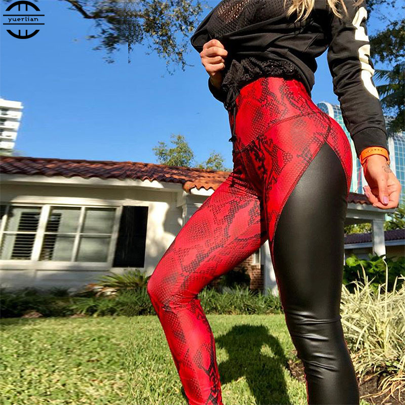 High Elastic sport fitness for women Running gym Quick Drying Trousers red Printed pants sportswear leggings in Yoga Pants from Sports Entertainment