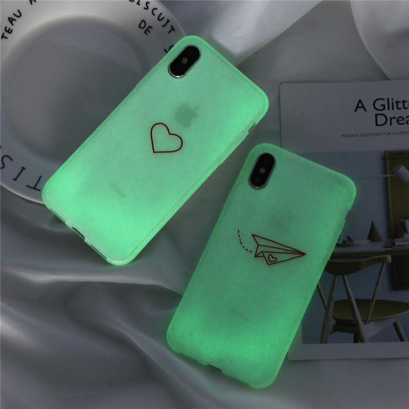 Ottwn Love <font><b>Heart</b></font> Airplane Night light Phone Cover For <font><b>iPhone</b></font> 6 <font><b>6S</b></font> 7 8 Plus X XR XS Max Soft Silicon Back <font><b>Case</b></font> Cover Capa image