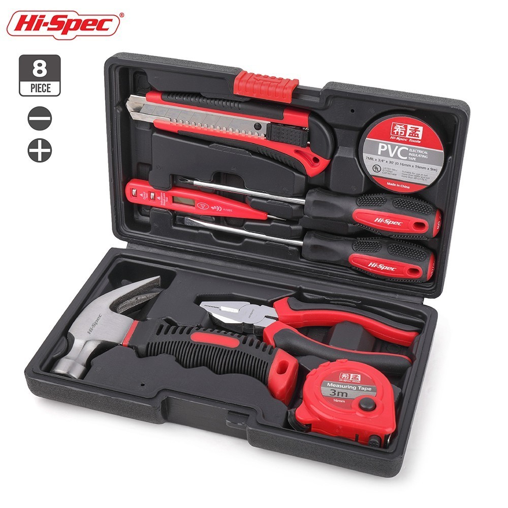 цена на Hi-Spec 8pc Hand Tool Set Household Tool Set Home Repair Hand Tools with Claw Hammer Pliers Voltage Tester Screwdriver Set