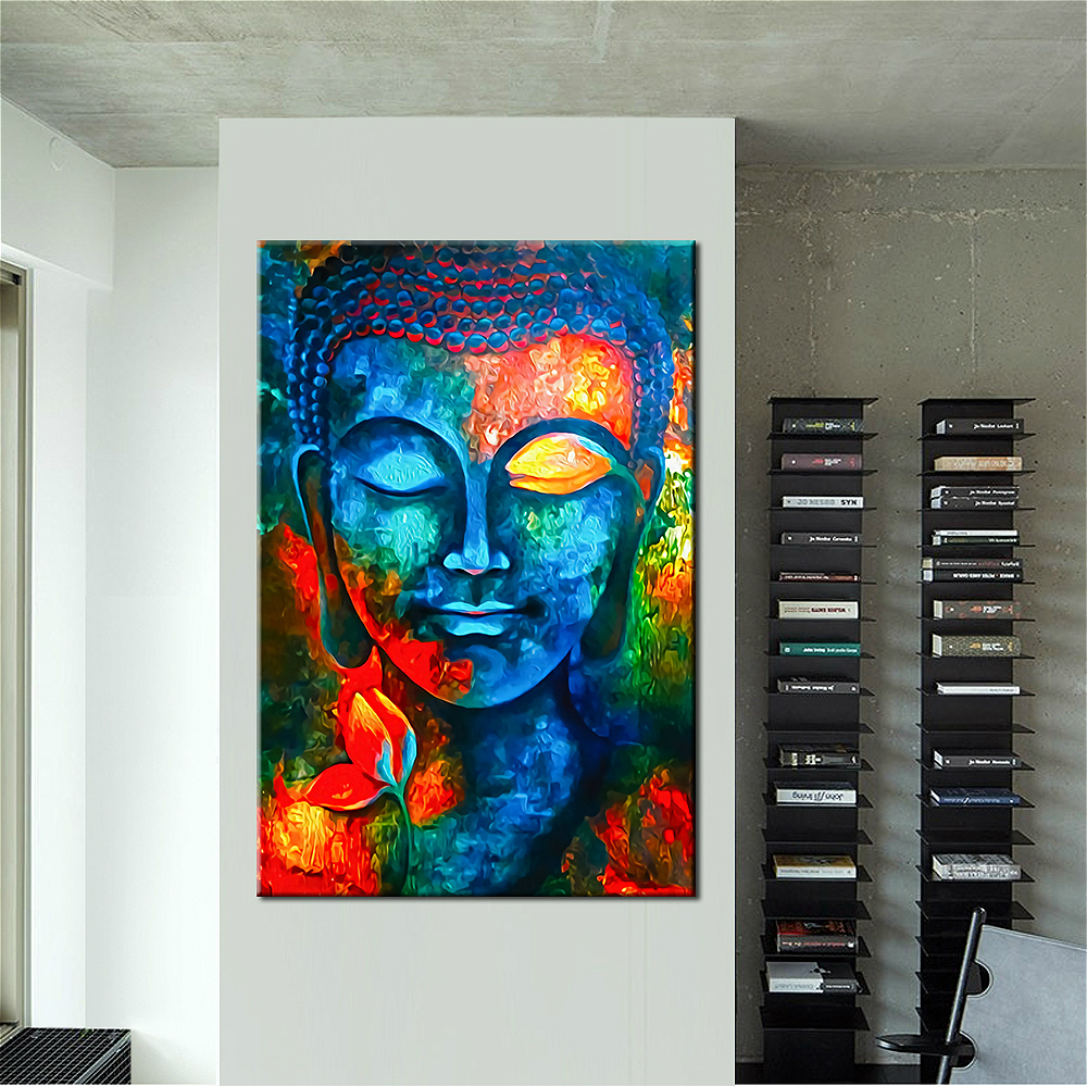 Colorful Abstract Blue Buddha With Lotus Modern Canvas Print Painting Wall Art Picture For Living Room Home Decor Drop shipping