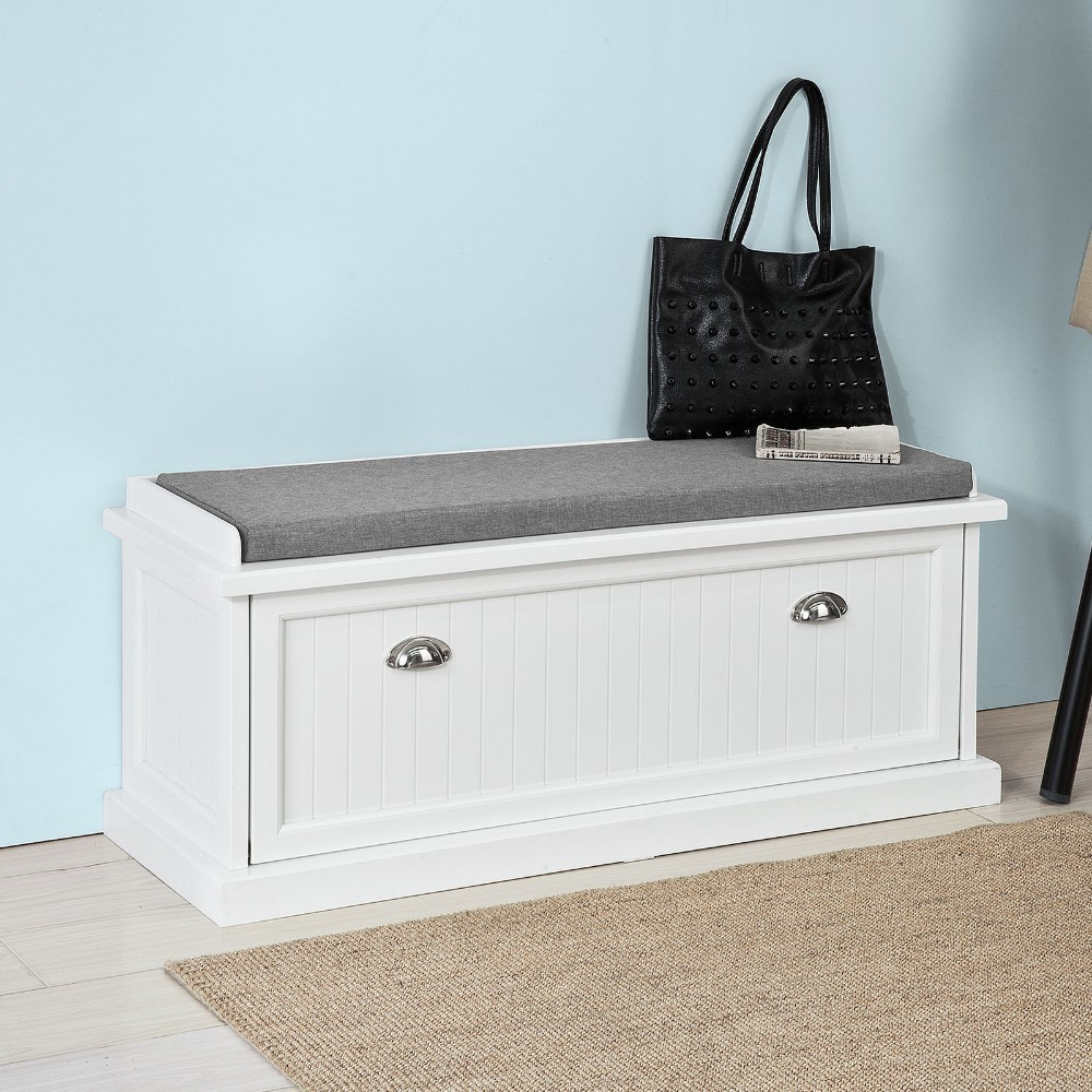 SoBuy FSR41-W, Shoe Storage Bench with Removable Seat Cushion Shoe Cabinet