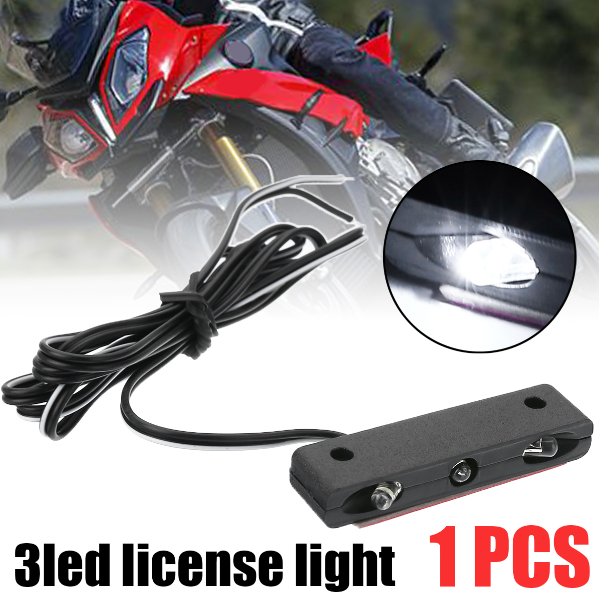 Mayitr 1pc Universal Motorcycle 3 LED License Plate White Light DC12V Motorbike Car Number Plate Lamp