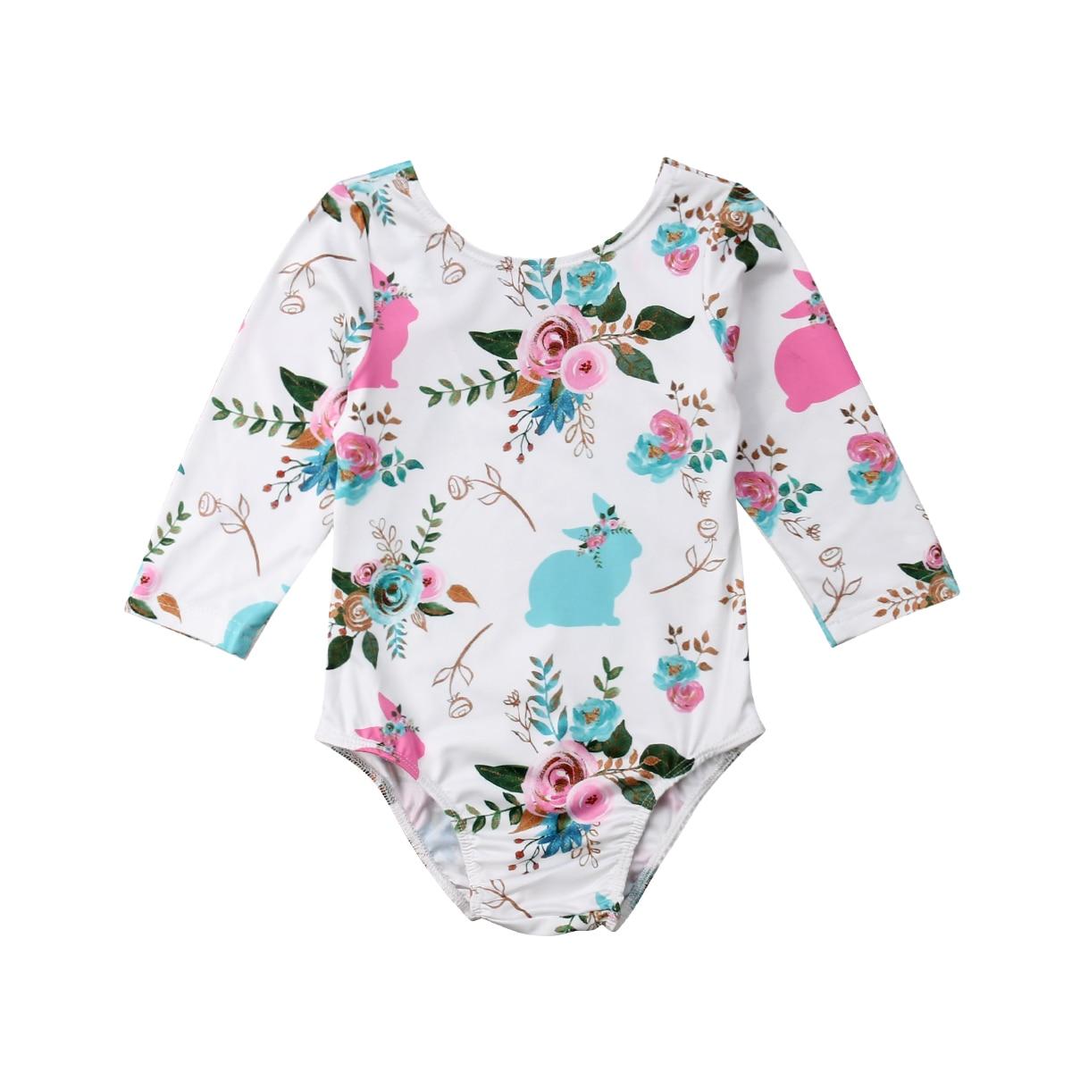Easter Infant Baby Girls Floral Rabbit   Romper   Floral Playsuit Jumpsuit Clothes
