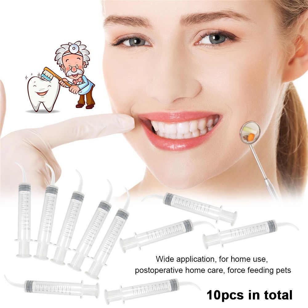 10 pcs חד פעמי מרפק מזרק השקיה מזרק קצה מעוגל שיניים רושם מזרקים 12 ml מסוע