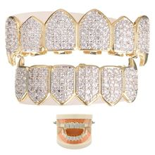 Gold w/ Plated Top & Bottom Grillz Mouth Teeth High Quality,