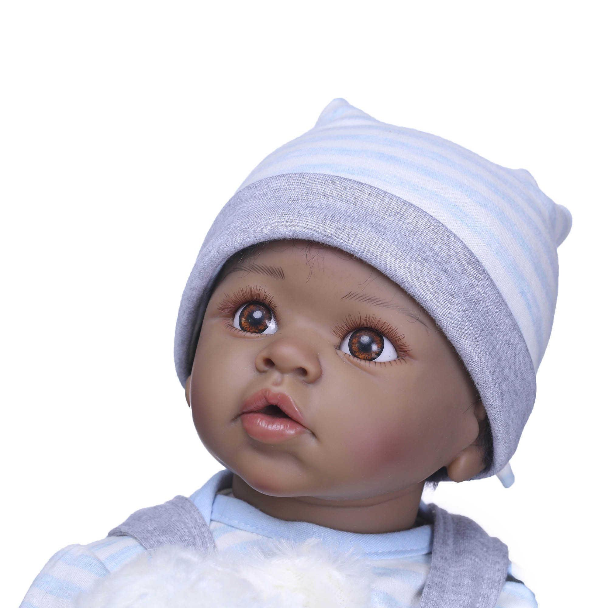 """22 """"검은 아프리카 계 미국인 다시 태어난 아기 인형 소년 비닐 실리콘 베이비 천 몸 살아있는"""