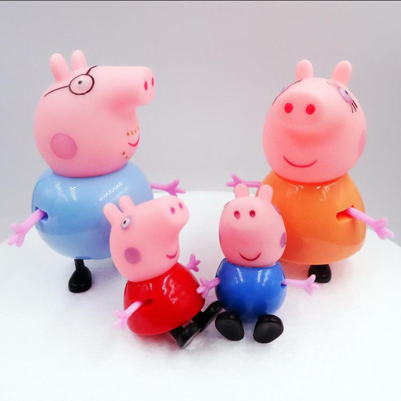 4pcs Peppa Pig George Family Pack Dad Mom Pink Pig Action Figure Original Pelucia Anime Toys For Kids Children Gift 5P