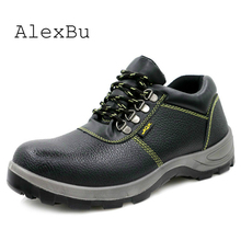 AlexBu Steel Toe Work Safety Boots Man Anti-smashing Steel Puncture Proof Construction Classical