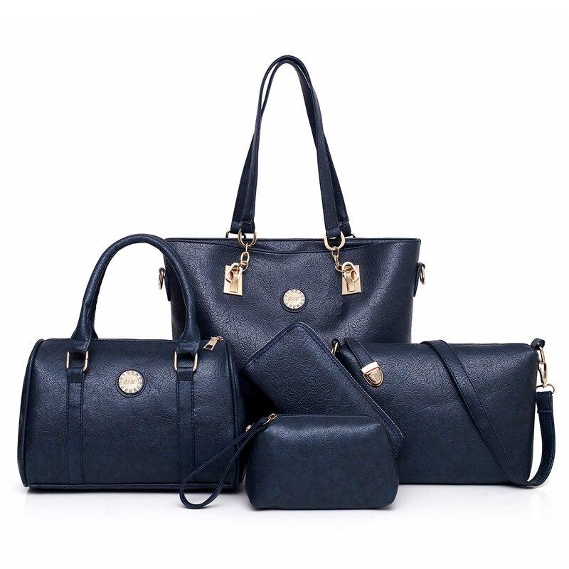 Female Shoulder & Handbags Fashion Women Bags High Quality PU Leather 5-Piece Set Composite Bag Bolsa Feminina MIWIND 2019 New