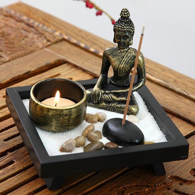 JX-LCLYL Zen Garden Sand Kit Relax Spiritural Meditation Decor Buddha Tealight Holder