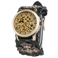 Steampunk Cool Bronze Skeleton Mechanical Watch Men Automatic Self Winding Timepieces 2019 Luxury Male Clock Birthday Gifts