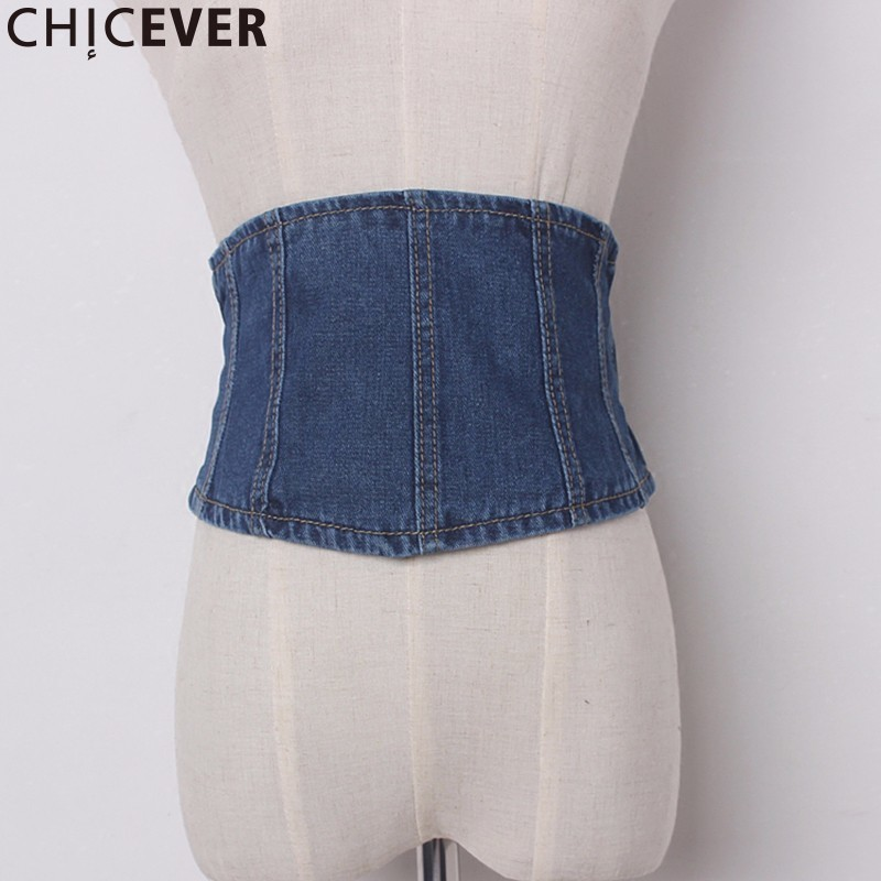 CHICEVER Vintage Denim Female Belts For Women Cummerbunds Elasticity Back Zipper Women's Belt Fashion Casual 2019
