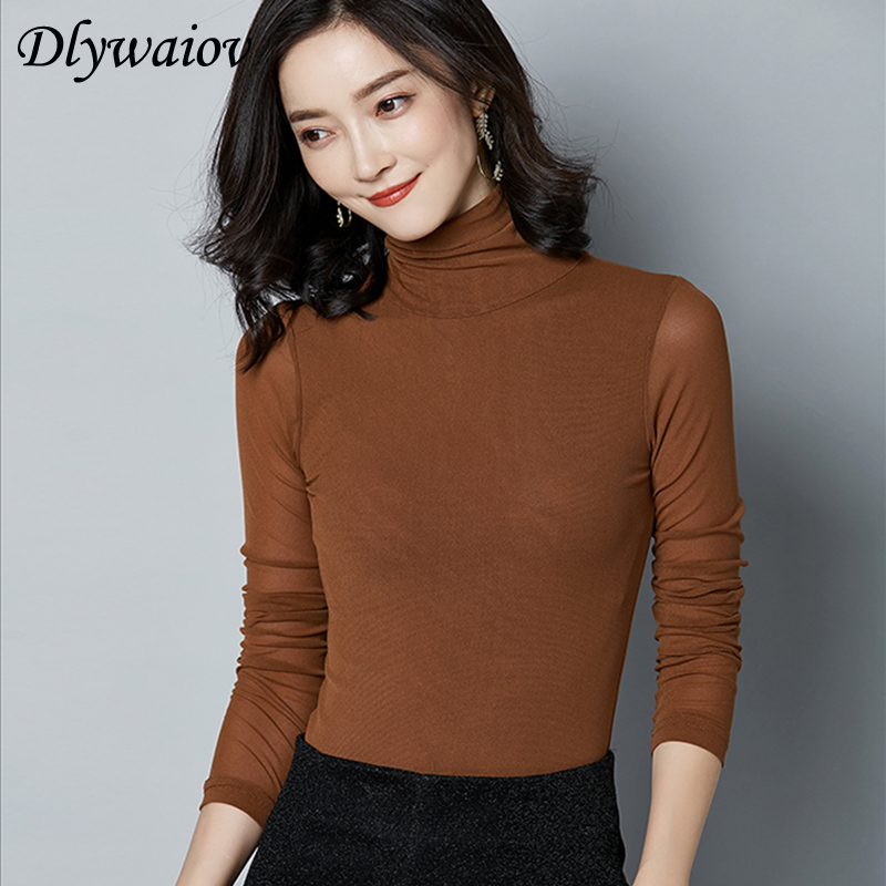 Blusas Mujer Modis Sexy Mesh Turtleneck Blouse Women Tops Long Sleeve Solid color Bottoming Shirt Fashion Femme Autumn winter in Blouses amp Shirts from Women 39 s Clothing