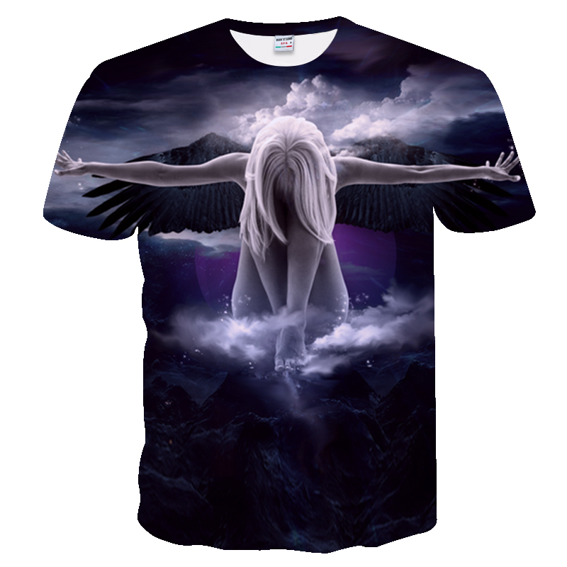 t-shirt Print Short,men Fashion Brand T-shirt  3d Tshirt Print angel T shirt dragonball rick and morty Tops Tees suprem Tops