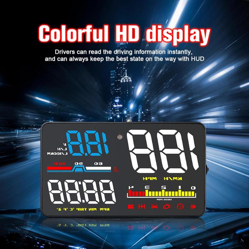 5Inch OBD2 US Overspeed Warning System Car HUD Head Up Display Projector Windshield Auto Car Electronic Voltage Alarm Machine