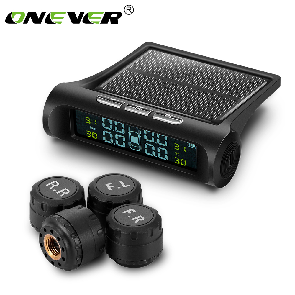 Smart Car TPMS Tyre Pressure Monitoring System Solar Power Charging Digital LCD Display Auto Security Alarm