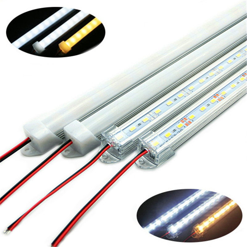 CLAITE 50CM SMD 5730 36 LED Rigid Strip Tube Bar Light Lamp With U Aluminium Shell + PC Cover DC12V LED Cabinet Night Light