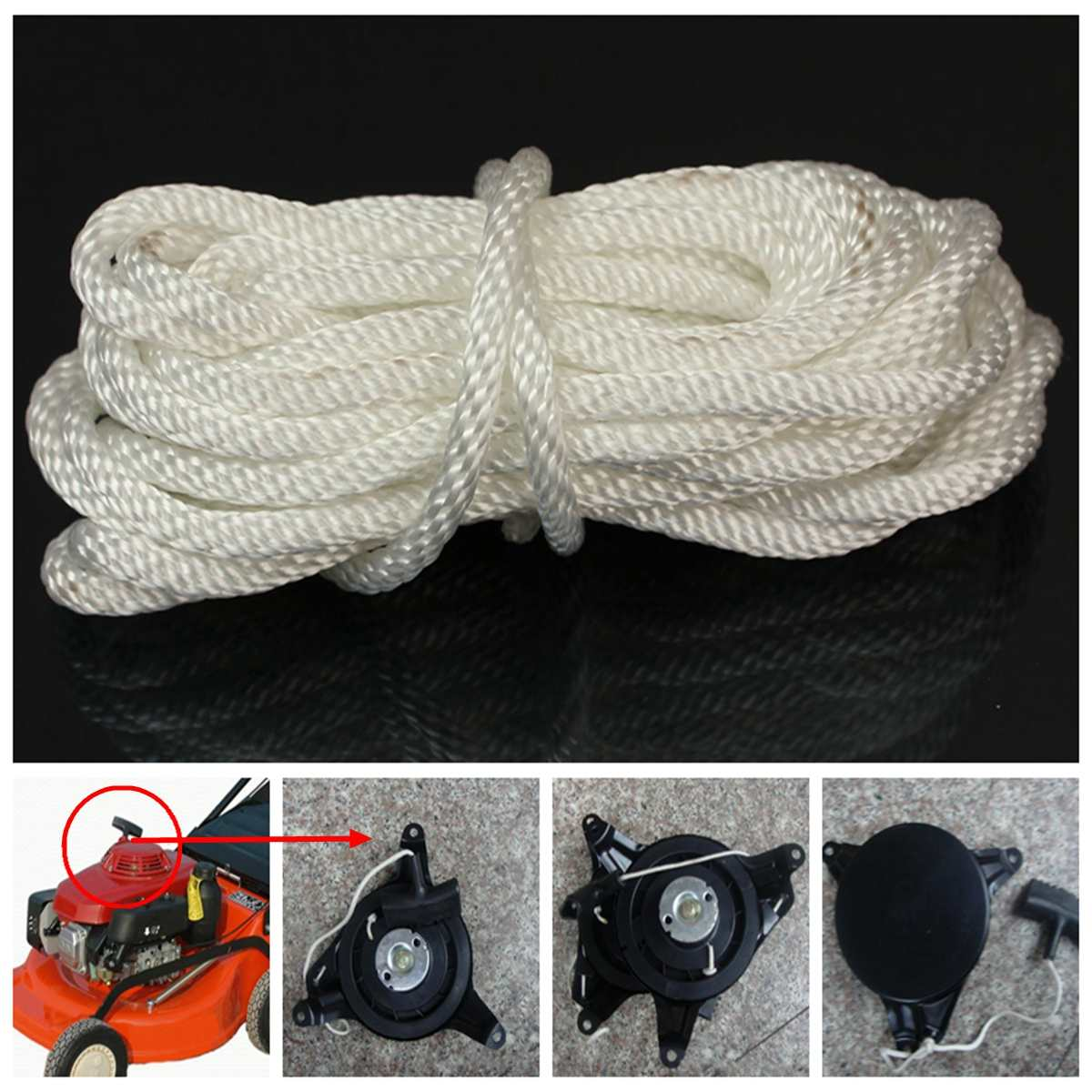 1 X 4mm 5m Nylon White Pull Starter Recoil Start Cord Rope For Most Lawnmower Towing Ropes Aliexpress