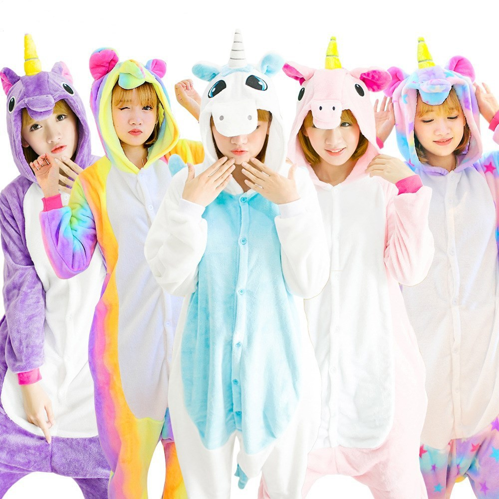 Adult Kigurumi Unicorn Onesie High Quality Animal Pajama Adult Men Women Rainbow Cartoon Cute Party Suit Thicker Warm Sleepwear