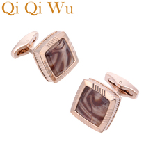 Qi Wu Luxury Cufflinks Brand High Quality Crystal Cuff links Groom wedding men Jewelry cuff Buttons for mens With Gift Box
