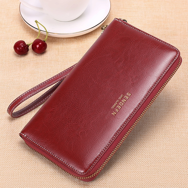 Rfid Anti-Degaussing Leather Ladies Wallet Large Capacity Long European And American Oil Wax Leather Women's Multi-Card Wallet