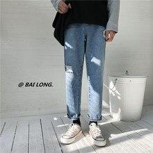 e313aaf6af 2019 Primavera Verano Streetwear agujeros hombres clásico azul Jeans hombres  de la longitud del tobillo Casual usado-hombre pant.