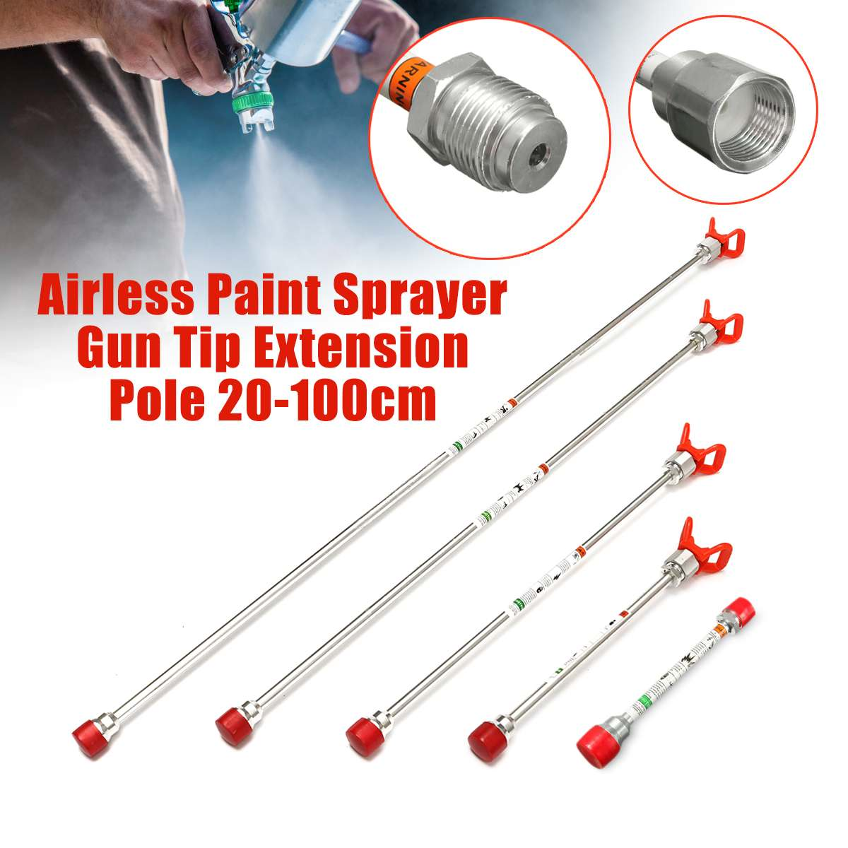 Airless Paint Sprayer Tip Extension Pole Spray Tool Fits For Titan Wagner 20/30/50/75/100cm Spray Guns Tool Parts