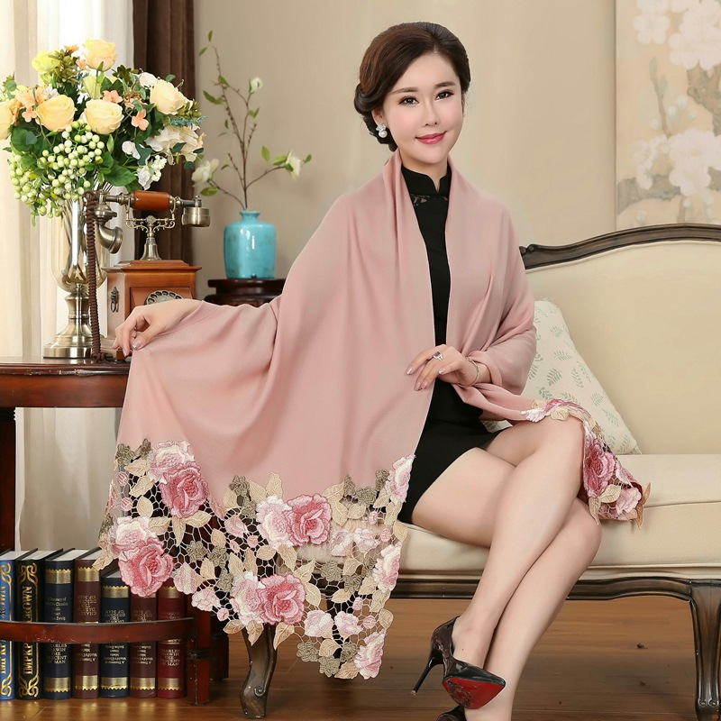 Autumn Winter Warm Wool Scarf Women Luxury Coat Wraps Shawl Scarves Cape Foulard Embroidery Stitching 210 68cm in Women 39 s Scarves from Apparel Accessories