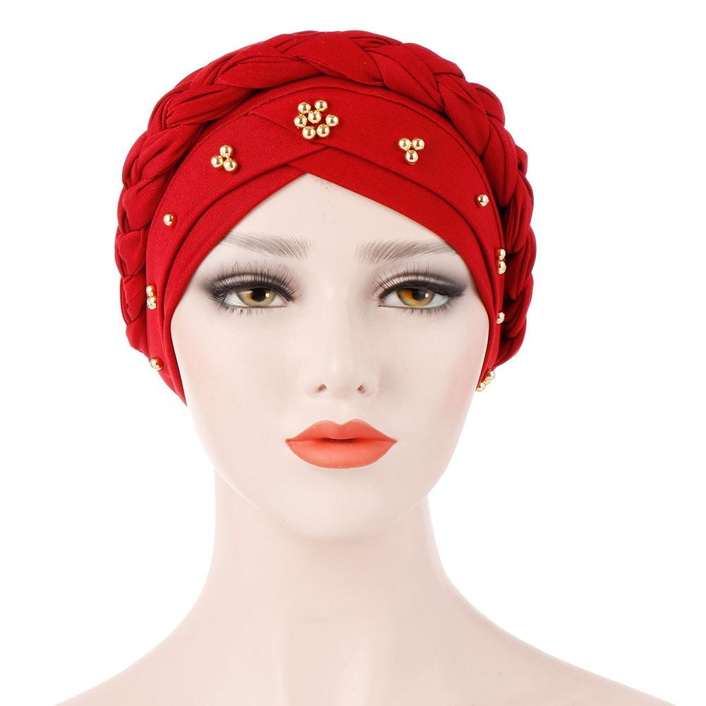 Muslim Women Stretch Braid Cross Whip Bead Cross Silk Turban Hat Scarf Beanie Caps Hijab Headwear Head Wrap Hair Accesories(China)