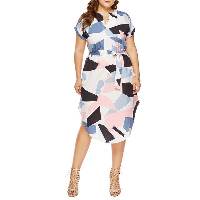 Wipalo 2019 Plus Size Midi Party Dresses Women Print Summer Boho Beach Tunic Long Dresses Geometric Color Block Sashes Vestidos