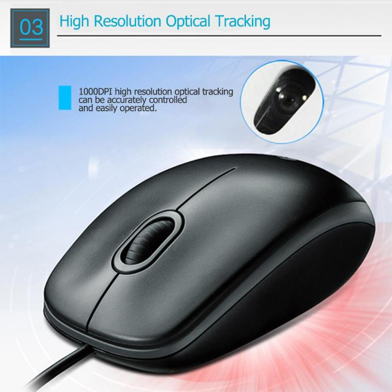 47f9a7c28ab Logitech M100R USB Wired Mouse Ergonomic Optical Silent Mouse 1.8m 1000DPI  3 Button Both Hands Mice for Desktop Laptop PC Gamer