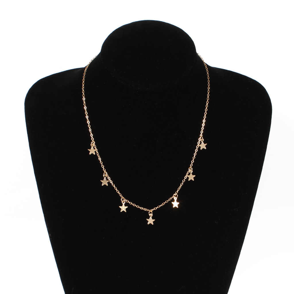 JCYMONG 2019 New Gold Silver Rose Color Chain Star Choker Necklace Bohemian Collar Kolye Bijoux Collares Mujer Collier Femme