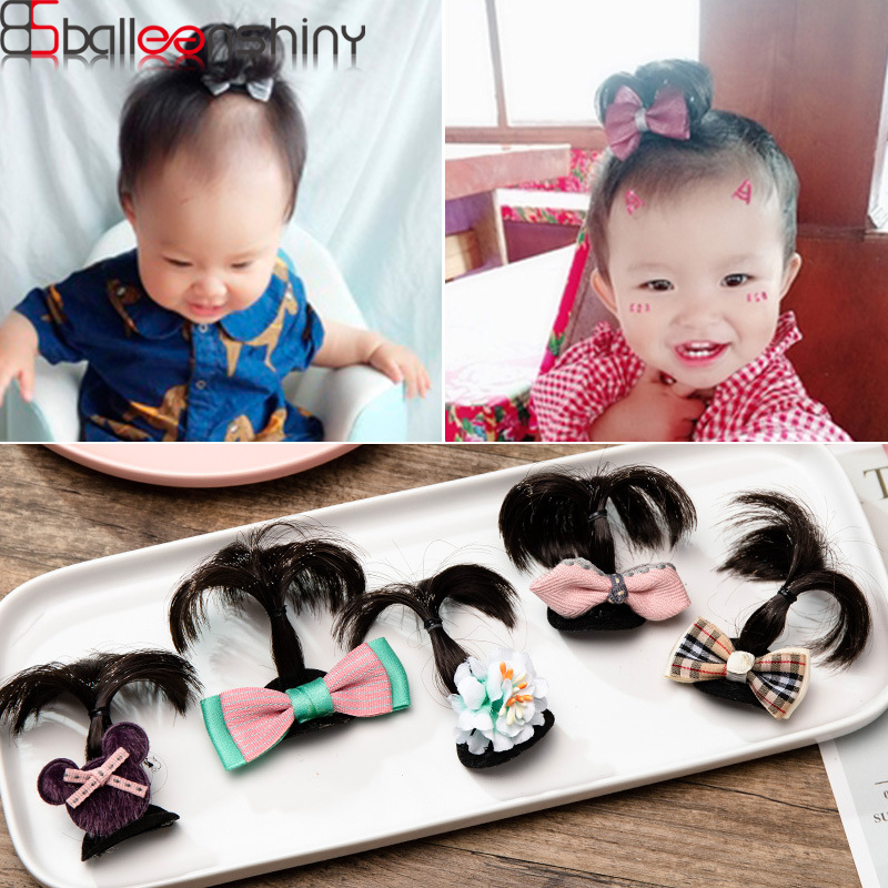 BalleenShiny Lovely Newborn Baby Wigs Hairpin Cute Infant Bowknot Pole Hair Clip Kids Headwear Accessores Photograph Pro