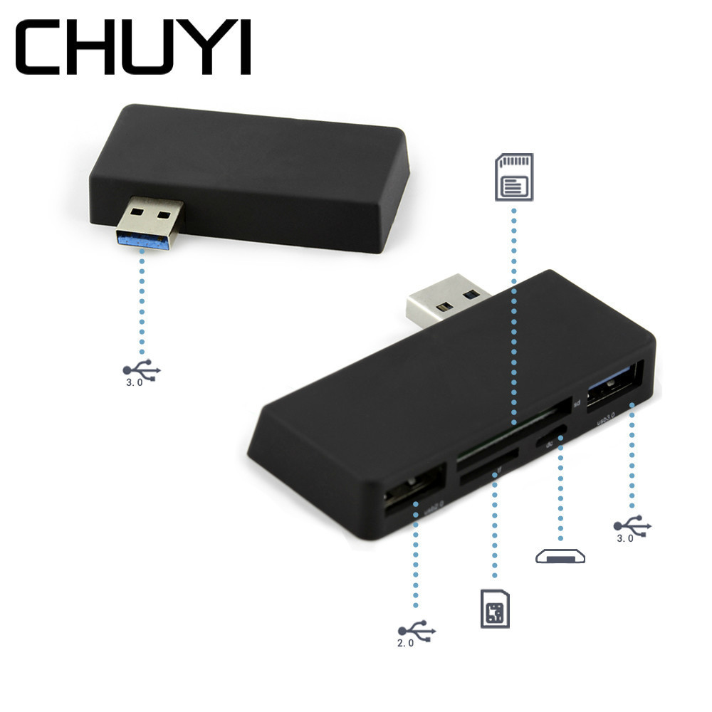 CHUYI Multi USB Combo USB Hub 2 Ports USB 2.0/3.0 With SD/TF Card Reader USB Sliptter Adapter For Microsoft Surface Accessories