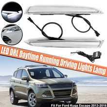 2 шт. 12 светодиодный LED двойной цвет белый DRL дневные бег дальнего света туман лампа Fit для Ford Kuga ESCAPE 2013 2014 2015 2016