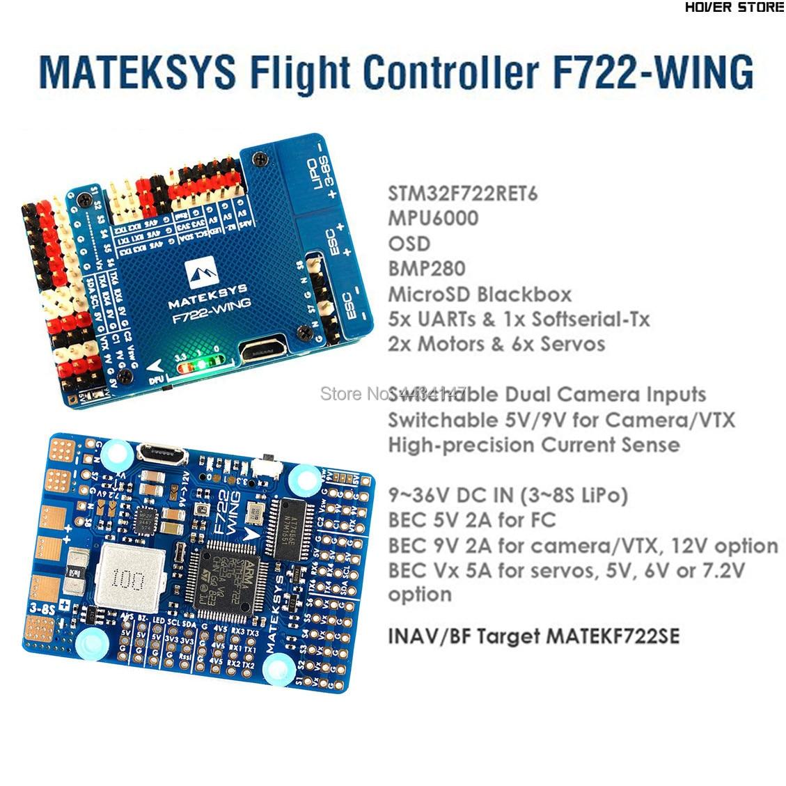 Oyuncaklar ve Hobi Ürünleri'ten Parçalar ve Aksesuarlar'de Matek Sistemleri Mateksys F722 WING uçuş kontrolörü F722 kanat FC PDB Desteği 3 ~ 6 S Sinek Kanat Sabit Kanat'da  Grup 1