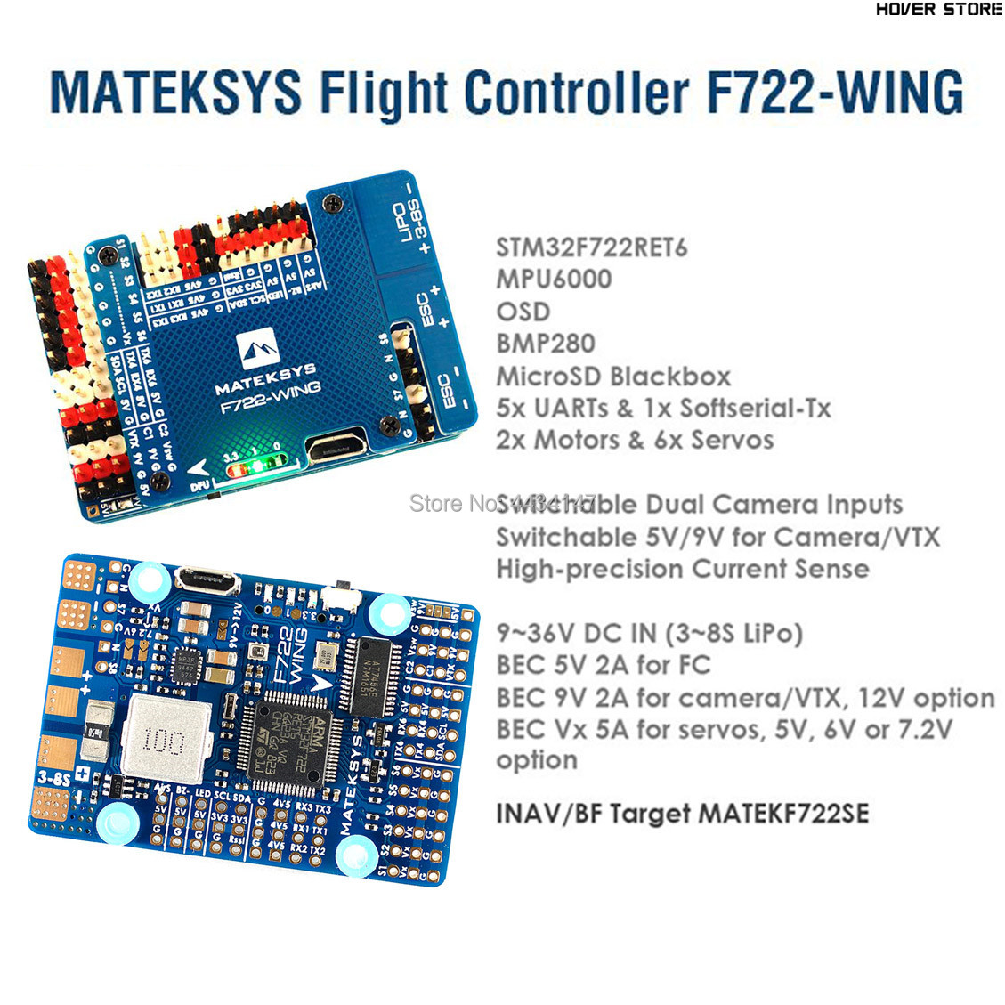 Sistemi di Matek Mateksys F722 WING Controllore di Volo F722 ala FC con PDB Supporto 3 ~ 6 S Fly Ala Ad Ala Fissa-in Componenti e accessori da Giocattoli e hobby su  Gruppo 1
