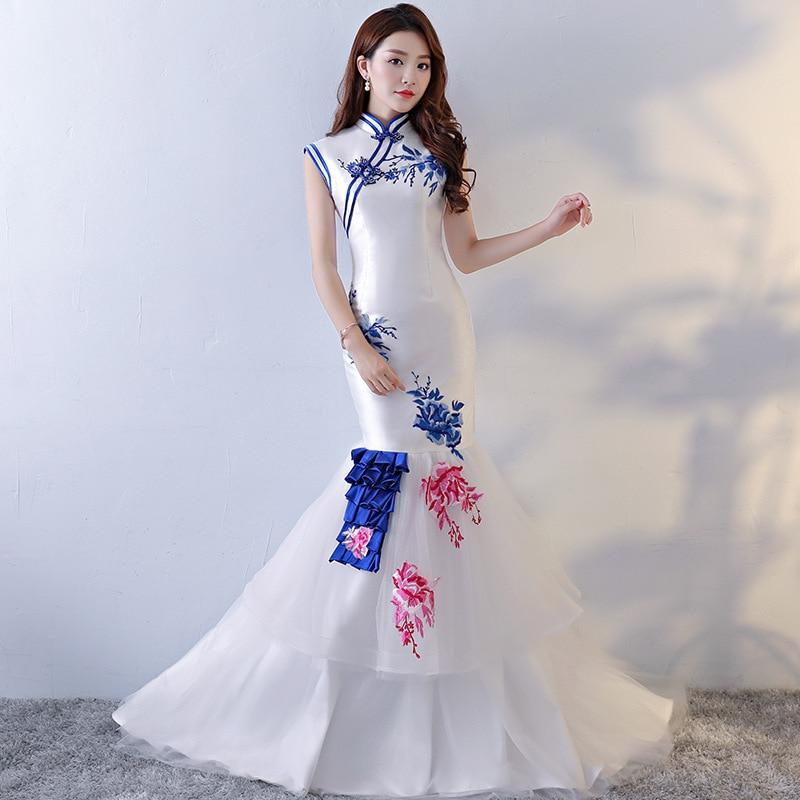 Blue White Chinese Wedding Dress Sexy Tailing Bride