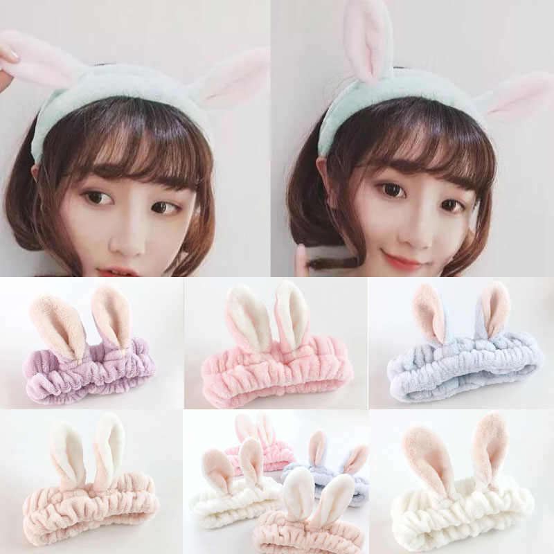 Sıcak Kadınlar Tavşan Kulaklar Yıkama Yüz Bandı Turban Elastik Hairbands Headwrap Kızlar saç aksesuarları Kadınlar için Bandanalar
