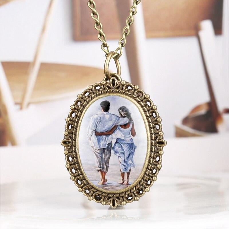 Romantic Lover Pendant Pocket Watch Memorable Necklace Jewelry Clock Chain Souvenir Valentine Anniversary Gifts For Men Women