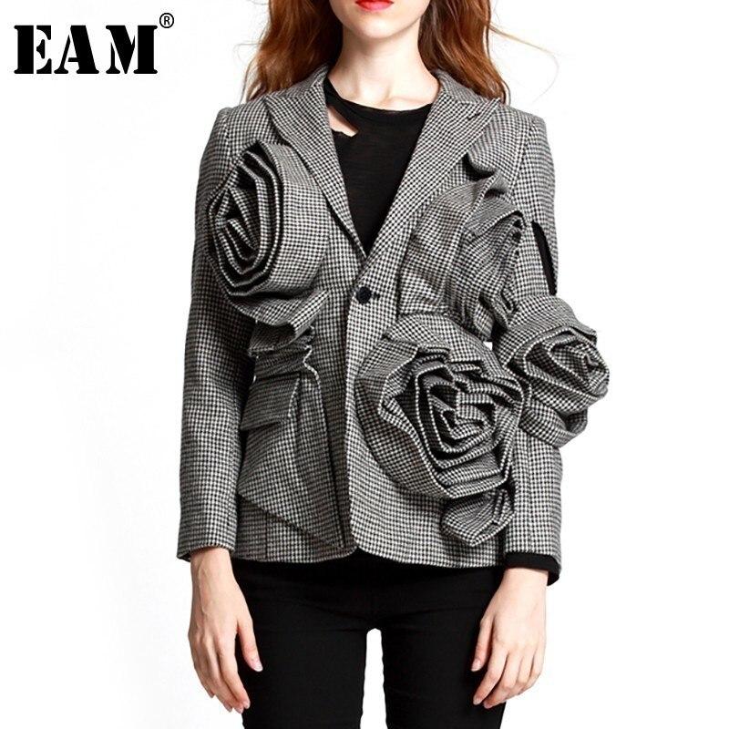 EAM 2019 New Spring Lapel Long Sleeve Black Plaid Three dimensional Flower Loose Temperament Jacket