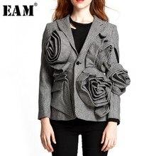 [EAM] 2020 새로운 봄 옷깃 긴 소매 검은 격자 무늬 3 차원 꽃 느슨한 기질 자켓 여성 코트 JG752