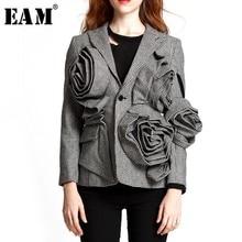 [EAM] 2020 New Spring Lapel Long Sleeve Black Plaid Three dimensional Flower Loose Temperament Jacket Women Coat  JG752