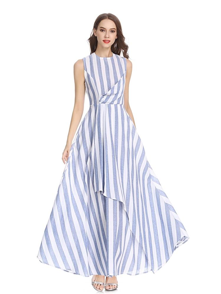 New Arrival Summer Women Maxi Dress Sleeveless Blue Striped Long With Irregular Hem