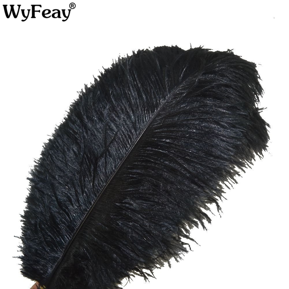 Wholesale Black Ostrich Feathers 15-75CM 6-30 Inch Carnival Party Wedding Decorations Natural Ostrich Feather For Crafts Plumes