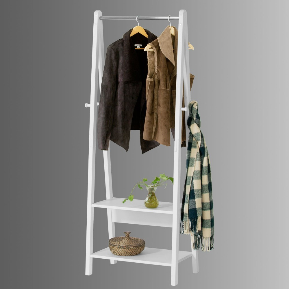 SoBuy FRG59-W White Modern Clothes Rail Stand Rack with Two Storage Shelves, Wood Coat Rack Hanging Rail