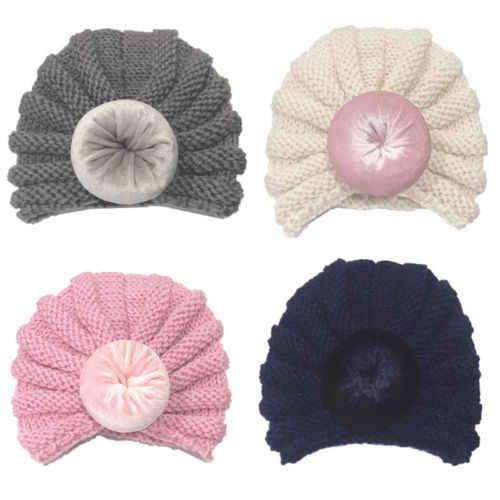30398547779 ... 2019 Toddler Newborn Baby Girls Boys Hat Infant Knit Beanie Crochet  Turban Ball Cap Warm Winter ...