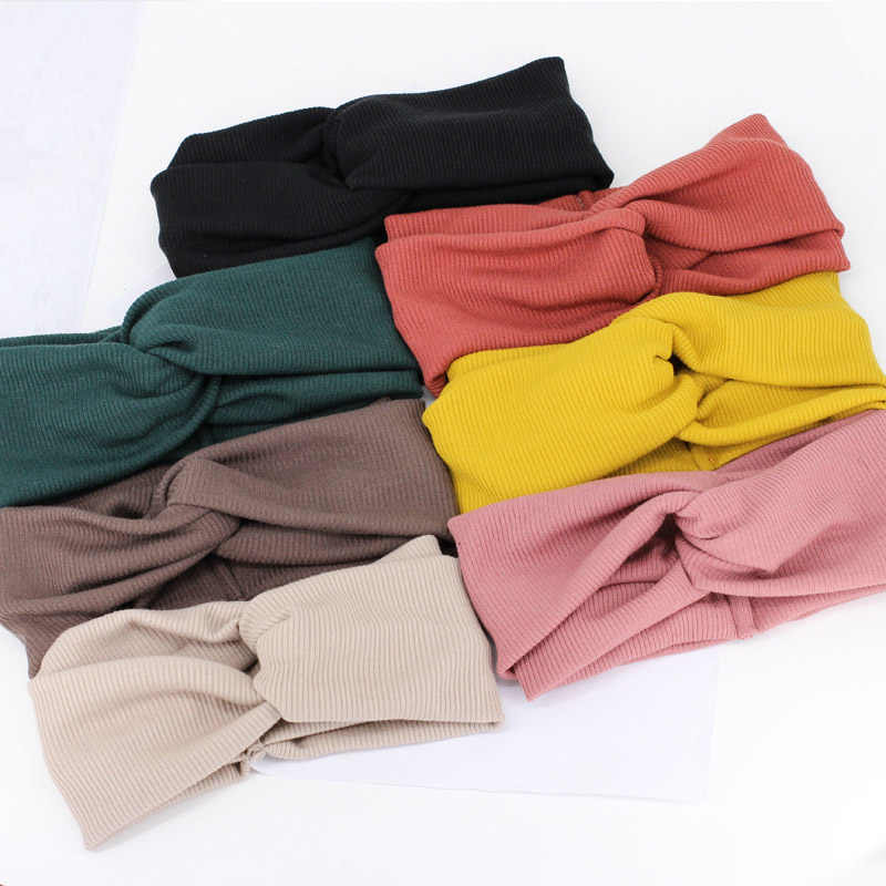 Hair Accessories Girls 1PC Korean Adult Headband Adjustable Hot Sale Knit 7 Colors Elastic Cross Exquesite Women Beautiful Wool